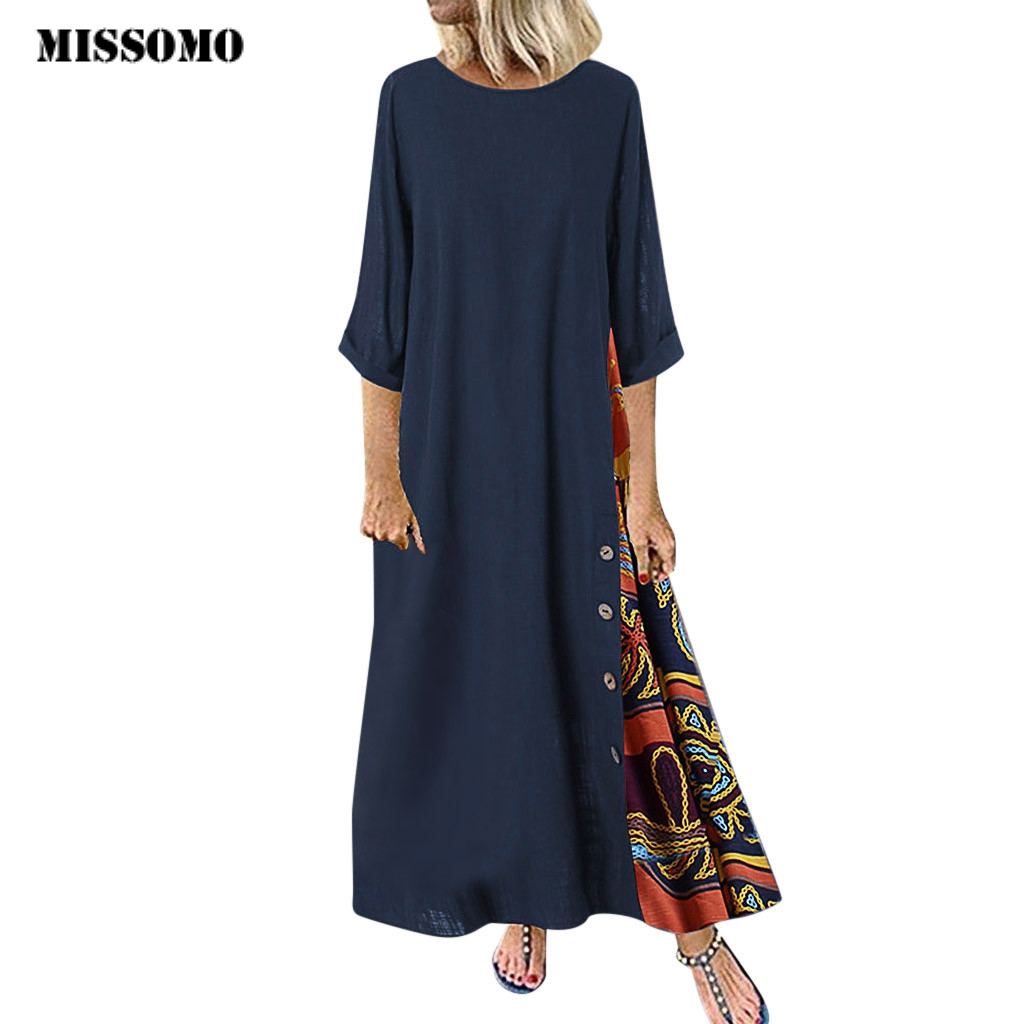 MISSOMO Maxi Dress Women Casual Elegant Patchwork 3/4 Sleeves O-Neck Button High Low Hem Plus Size Long Dress Boho Party Dress 8