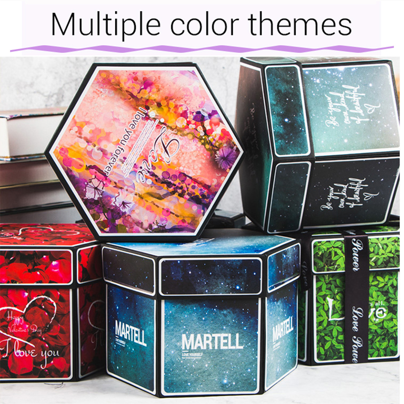 Hexagon Surprise Explosion Box DIY Handmade Scrapbook Photo Album Wedding Gift Box for Valentine Christmas Gift Boxes 9