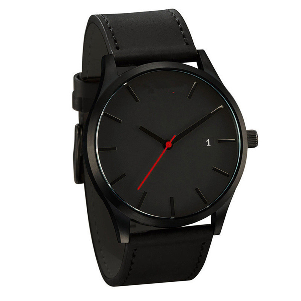 Watch Calendar Couple Leather Strap Wrist Business Quartz Dial Minimalist Men Men title=