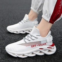 Men's Shoes new of the trend breathable sports leisure night light personality Flying weaving INS off white shoes casual