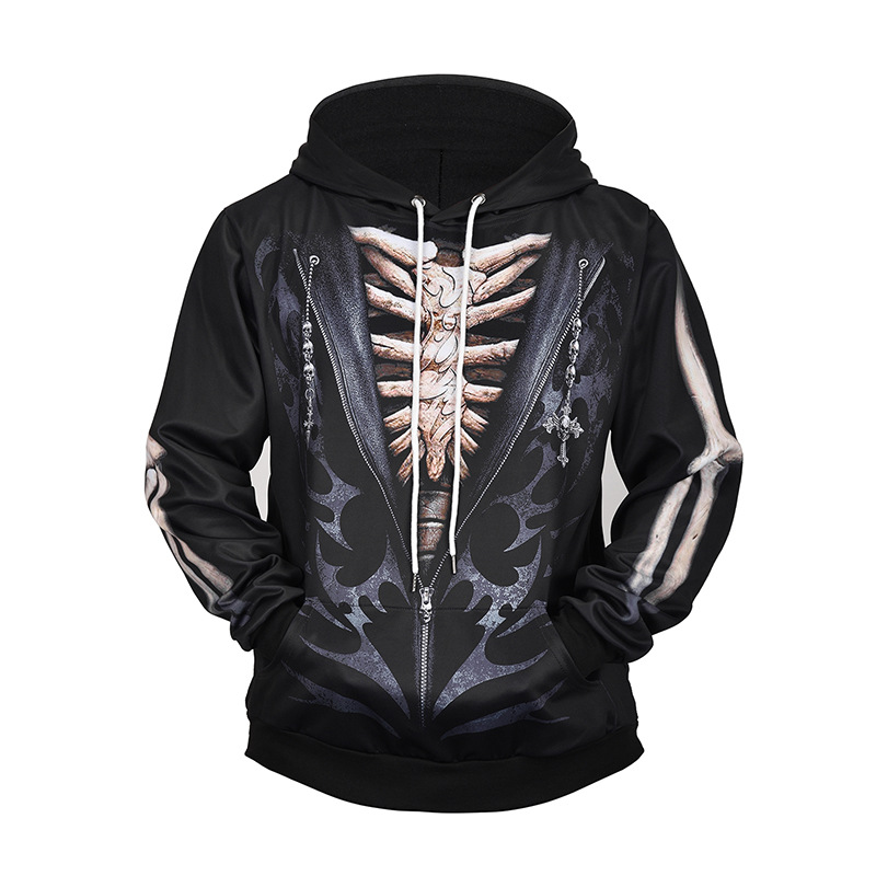 Amazon 2019 New Style Origional Men's Fake Two-Piece 3D Skeleton Printed Hoodie Large Size Loose-Fit Lard-bucket Men's Sweatshir
