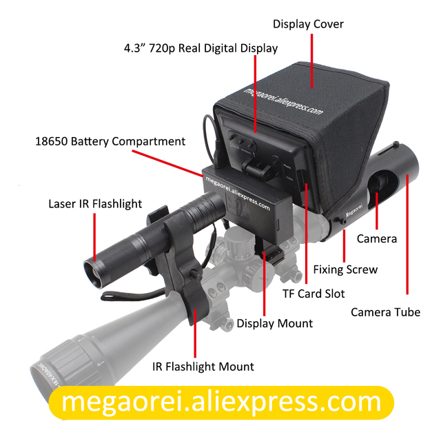 Megaorei2 Sniper Night Vision Device Rifle Scope Hunting Camcorder Video Camera with Laser Infrared Flashlight and LCD Screen 2