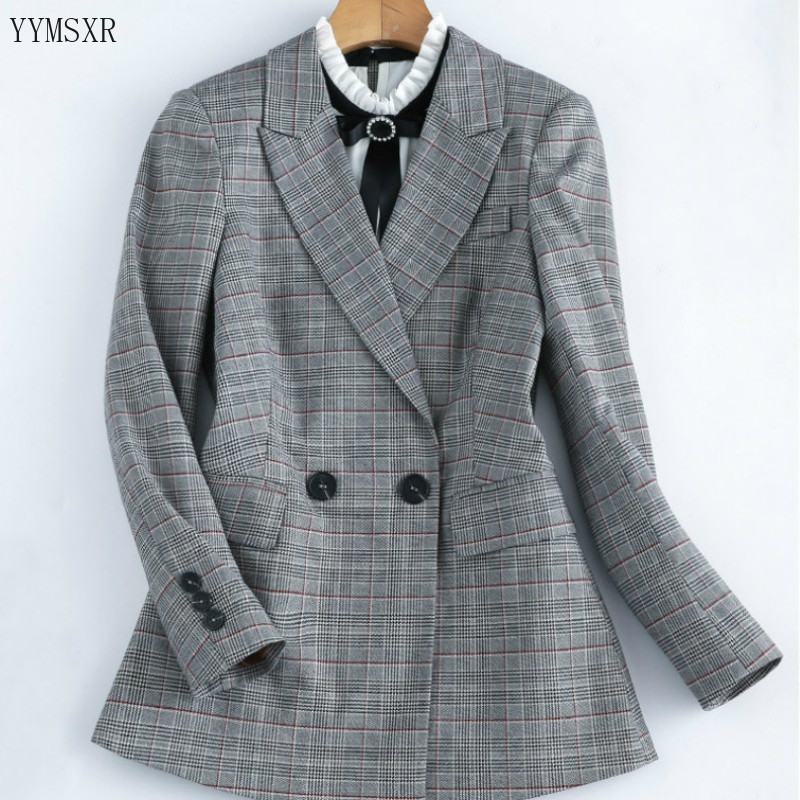 Women's casual office interview jacket small suit feminine 2020 High-quality double-breasted checked blazer women Fashion coat