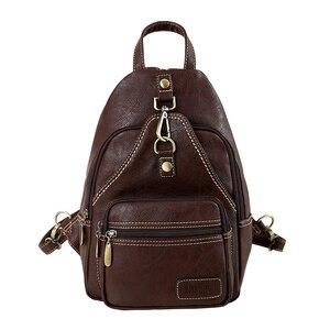 Image 2 - Sac à dos Vintage multifonction en cuir artificiel souple pour femmes, Mini sac à bandoulière, petit sac de poitrine pour les voyages quotidiens