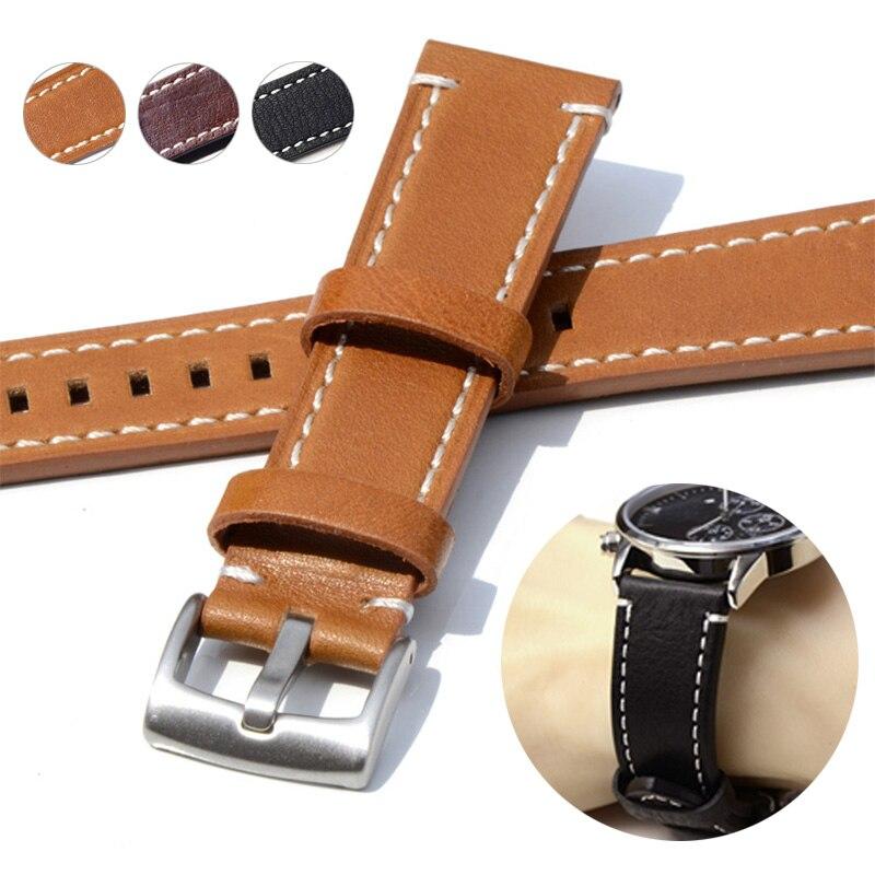 Sale Cowhide 18mm 19mm 20mm 21mm 22mm 23mm 24mm Men Watchbands Wristband Genuine Leather Women Watch Strap