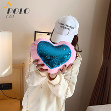 Women's Heart Shaped Crossbody Bag Plush Wallet Purse Chain Shoulder Bag Sequin Decoration Mobile Phone Hand Bag Blue and Red novelty flamingo shaped crossbody bag