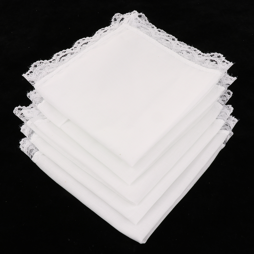 5 Pcs White Cotton Handkerchiefs Blank Lace Hankies For Wedding, Pocket Square For Men & Women 23x25cm