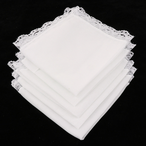 5 pcs White Cotton Handkerchiefs Blank Lace Hankies for Wedding, Pocket Square For Men & Women 23x25cm