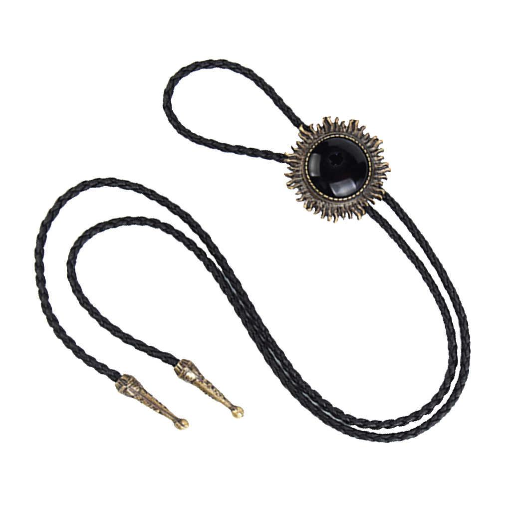 Vintage antik bronz ayçiçeği siyah taş batı kovboy Bolo kravat kravat