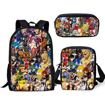 Fashion School Bag 3PCS Set Kinds Of Hot Japan Anime Design Teenagers Satchel Backpack Pokemon Anime Children's Bookbag Set