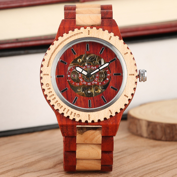 Red ebony-maple wooden watch Quartz Wooden Watches for Female Red Sandalwood Round Dial Wooden Wristwatch