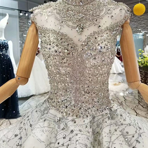 Image 4 - LS014545 royal shiny ball gown evening dresses with glitter sleeves high neck beaded dubai women occasion dress china wholesale