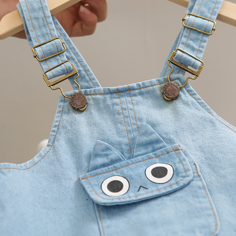 Denim Overalls Clothes Set for Baby Boys O-neck T-shirt Shorts 2 Pieces/Set New Short-sleeved Infant Children Kids Clothing 6