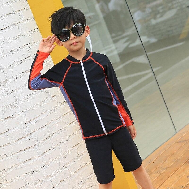 New Style Boy Long Sleeve Sun-resistant Split Type Boxer KID'S Swimwear Two Piece Set Sports Beach Set Hot Springs Swimwear Men'
