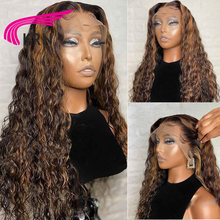 Highlight 1B #30 Lace Front Human Hair Wigs With Baby Hair Kinky Curly 8 26inch 13X6 Lace Wig Only Middle Part For Women