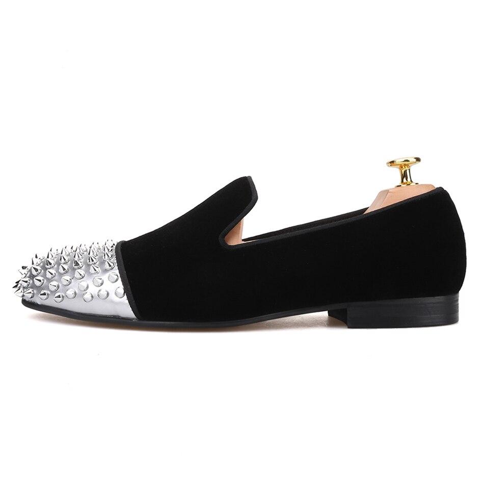 Piergitar/Мужская бархатная обувь ручной работы из лакированной кожи с заклепками, вечерние мужские повседневные лоферы, мужские тапочки для ку... - 2
