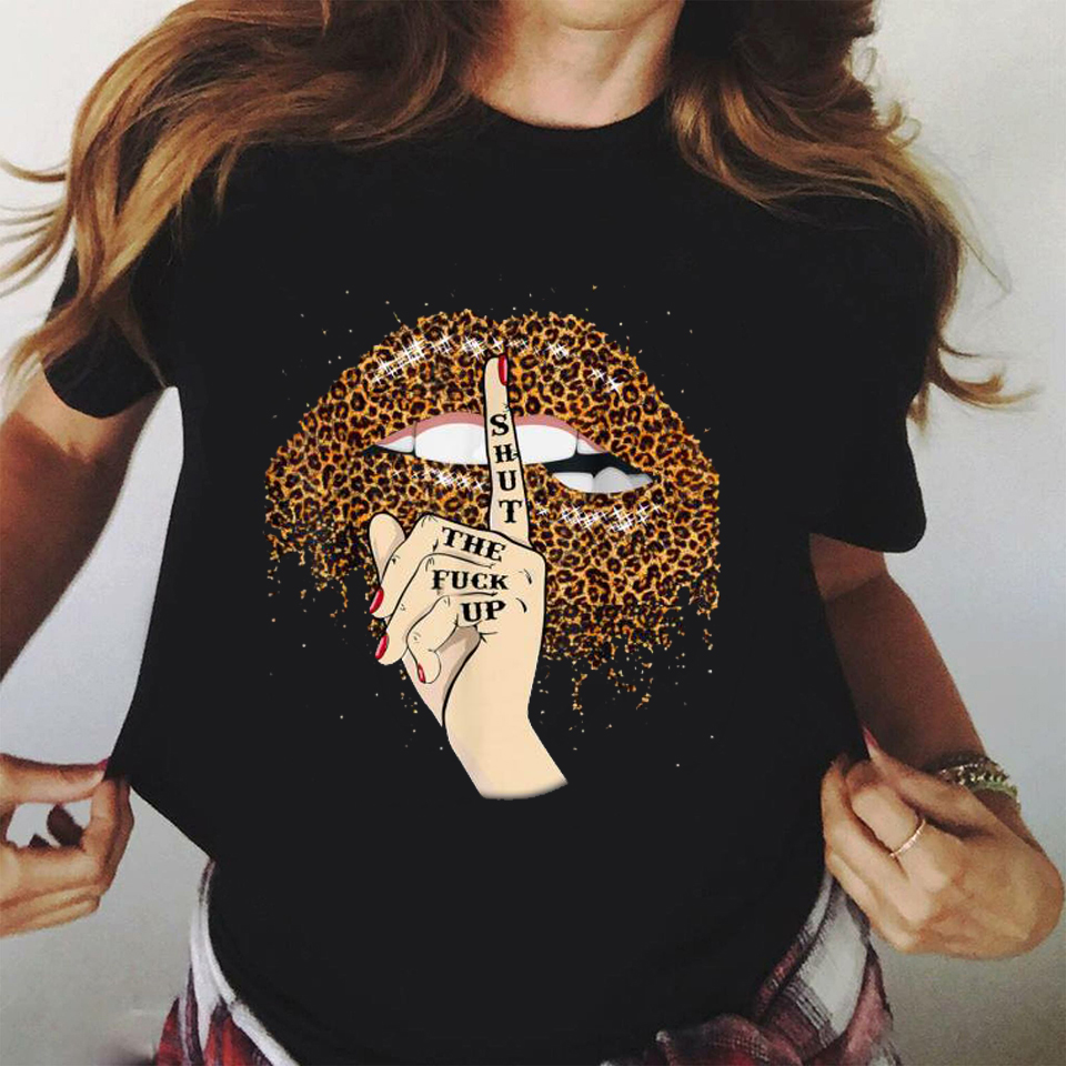 2020 Lips Leopard Graphic T Shirt Lip Women Tops Shirt Base O-neck Camisa Leopard Black Tees Kiss Leopard Lip Funny Girls Tshirt