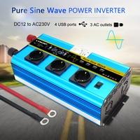 LCD 12000W power inverter DC 12V to AC 220V 230V Converter Supply Solar Power 4USB 4FAN with 3AC EU PLUG wireless remote control