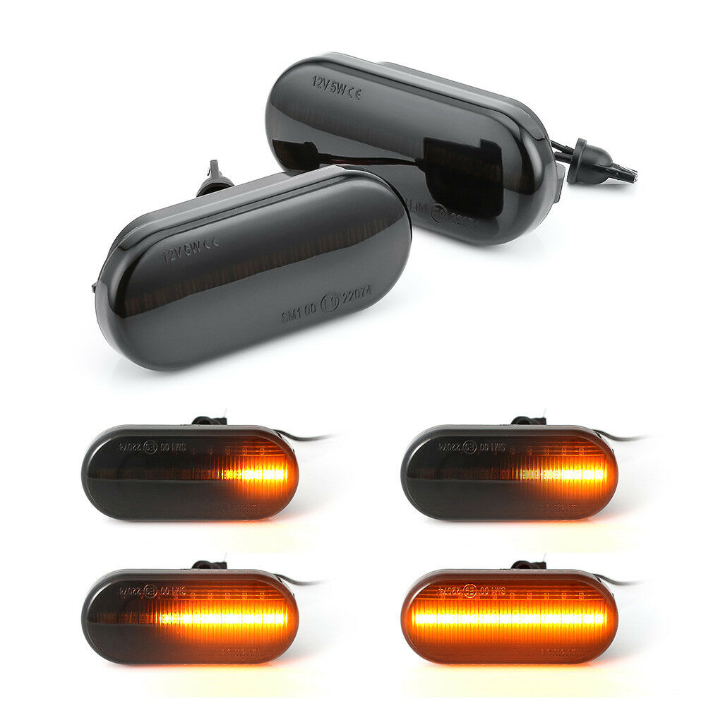 Pair Car Flowing Water LED Side Marker Light Dynamic Repeater Turn Signal Indicator Lamps For V W