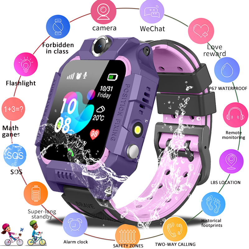 LIGE New Smart watch LBS Kid SmartWatches Baby Watch for Children SOS Call Location Finder Locator Tracker Anti Lost Monitor+Box