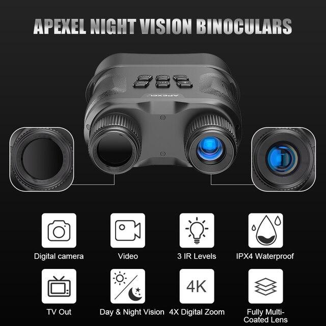 APEXEL Digital Night Vision Binoculars With Video Recording HD Infrared Day And Night Vision Hunting Binoculars Telescope 2
