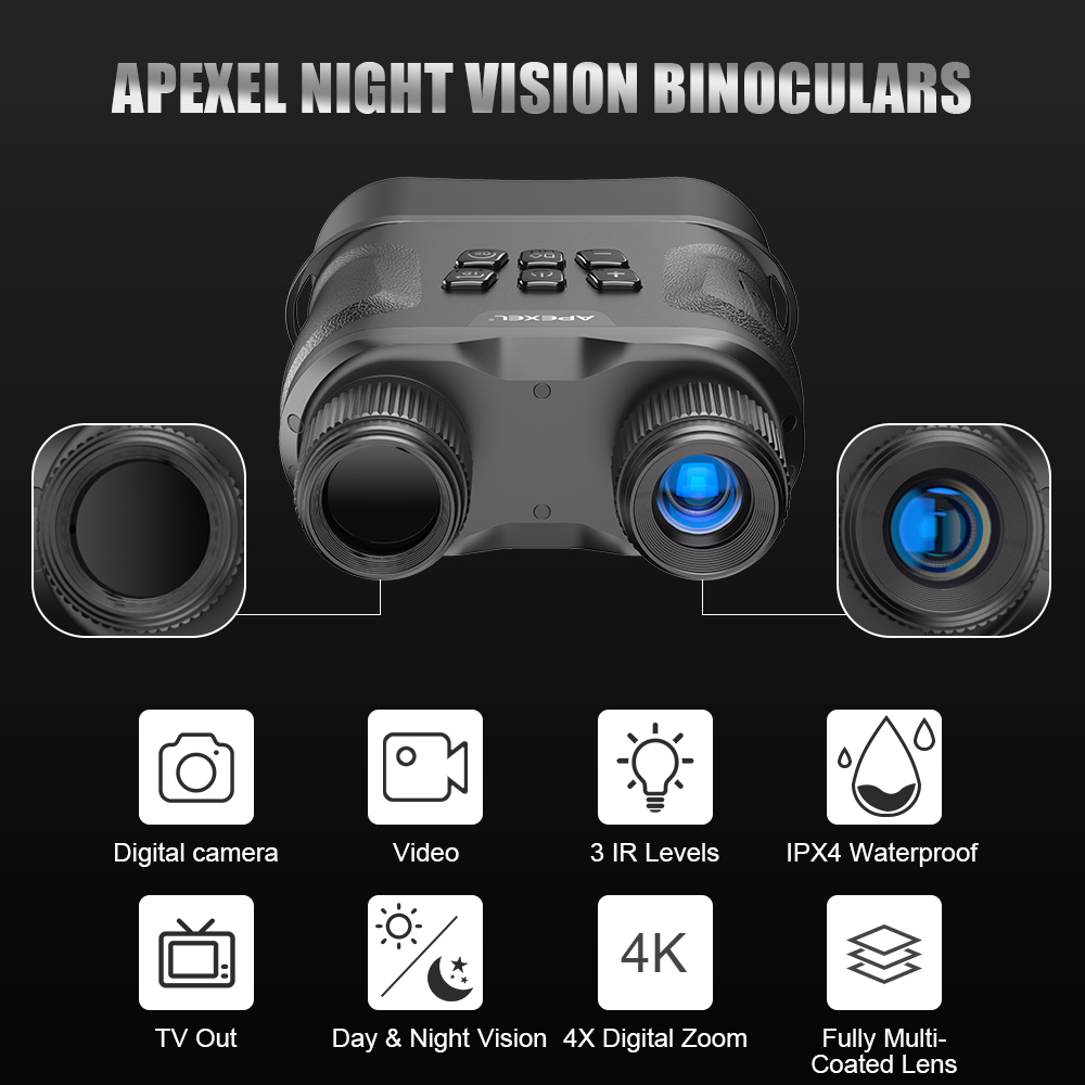 With Telescope Vision APEXEL Infrared Night Recording Binoculars Hunting HD And Night Video Binoculars Day Digital Vision