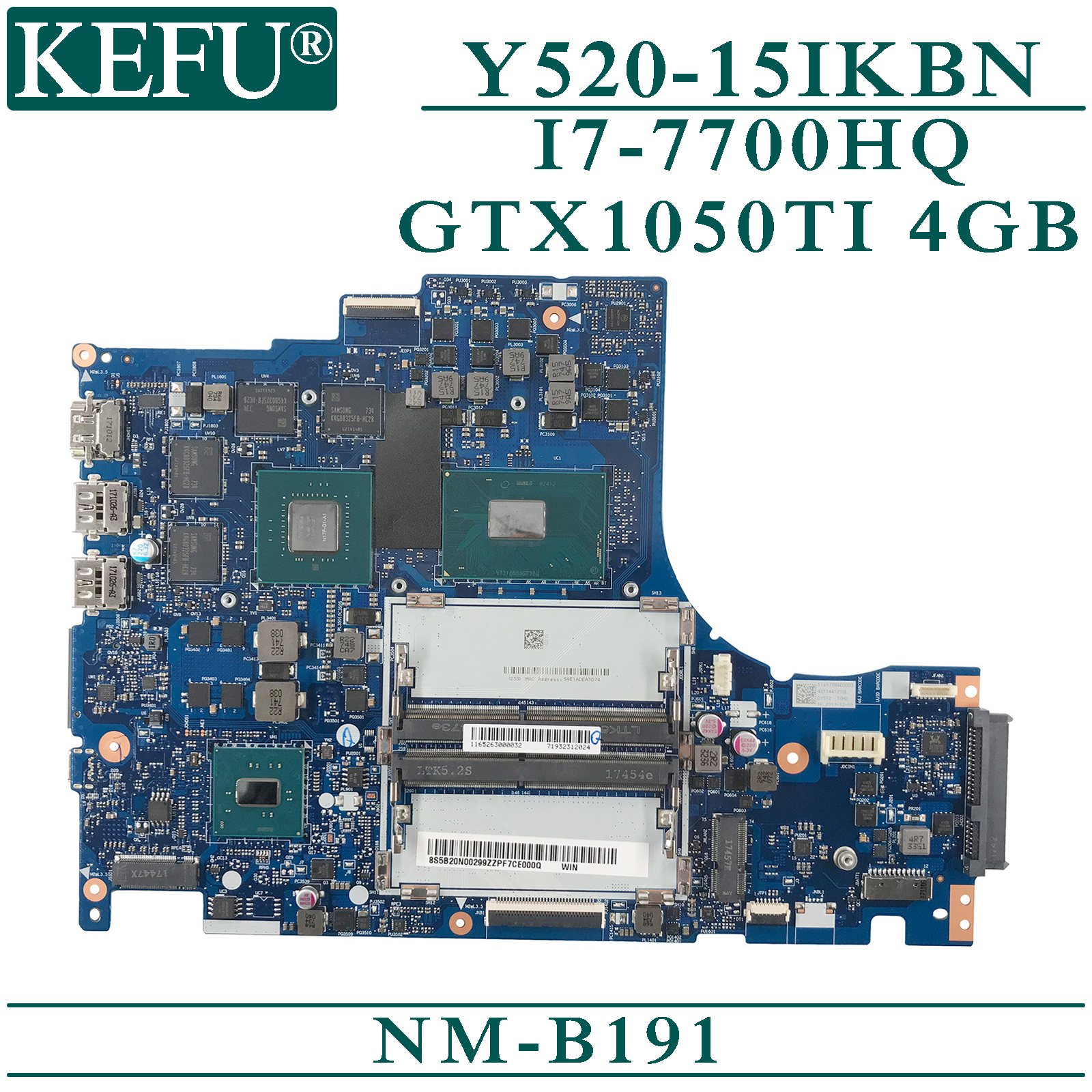 KEFU NM-B191 original mainboard for Lenovo Y520-15IKBN with I7-7700HQ <font><b>GTX1050TI</b></font>-<font><b>4GB</b></font> card Laptop motherboard image