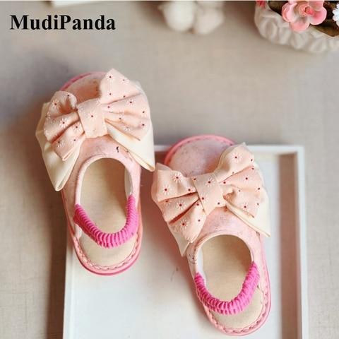 mudipanda toddlers chinelos 2020 outono inverno macio das criancas meninas bonito rosa princesa bowknot interior