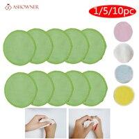 1/5/10 Uds reutilizables almohadillas de algodón de fibra de bambú de removedor de maquillaje de almohadillas lavable rondas limpieza algodón Facial para la eliminación de