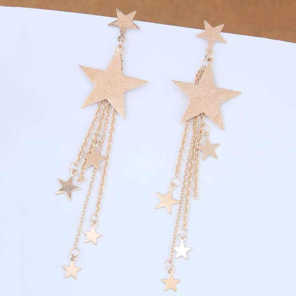 Moda Brincos Bijoux Pentagram yıldız Metal zincir uzun bildirimi püskül damla küpe kadınlar için takı kolye bayanlar hediyeler