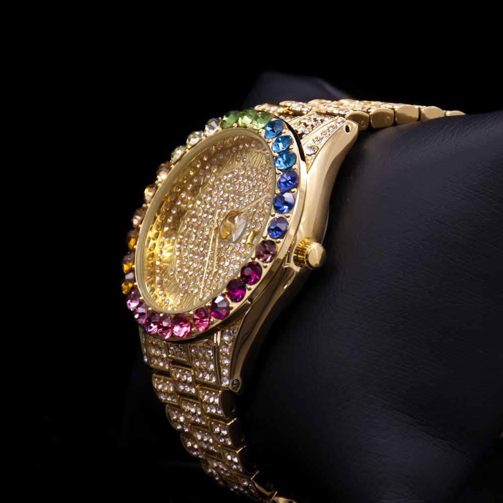 MISSFOX Big Rainbow Diamond Bling Blingนาฬิกาผู้หญิงIcd Rome Dialสร้อยข้อมือสแตนเลสคลาสสิกนาฬิกาแบรนด์หรูนาฬิกาคุณภาพสูง