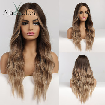 ALAN EATON Ombre Black Brown Long Water Wave Wigs with Highlights Middle Part Synthetic Hair for Women  High Temperature - discount item  40% OFF Synthetic Hair