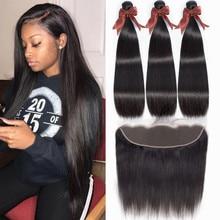 Bling cabelo em linha reta pacotes de cabelo com frontal 13x4 fechamento frontal do laço com pacotes cabelo humano brasileiro pacotes com fechamento