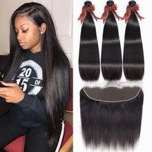 Bling hair mechones de pelo liso con cierre Frontal 13x4, cierre Frontal de malla con mechones, extensiones de cabello humano mechones brasileños con cierre