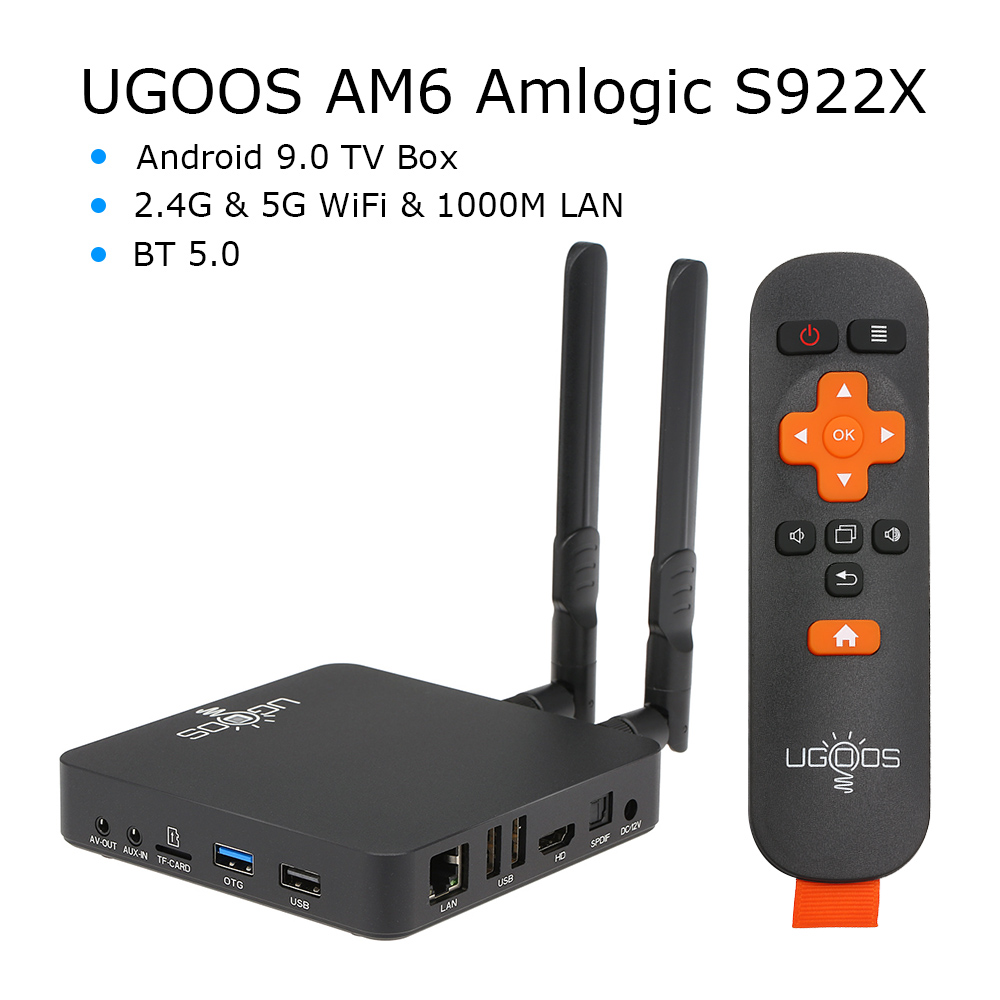 Android 9.0 Smart TV Box UGOOS AM6 S922X DDR4 2GB RAM 16GB ROM 2.4G+5G WiFi 1000M LAN BT 5.0 4K HD Home Media Player Set Top Box