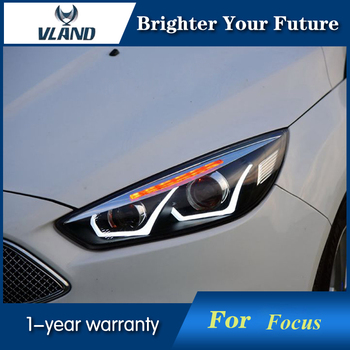 Car U Style Angel Eyes Head Lamp for Ford Focus Headlights 2015-2018 with Bi-xenon Lens Double Beam Projector LED DRL