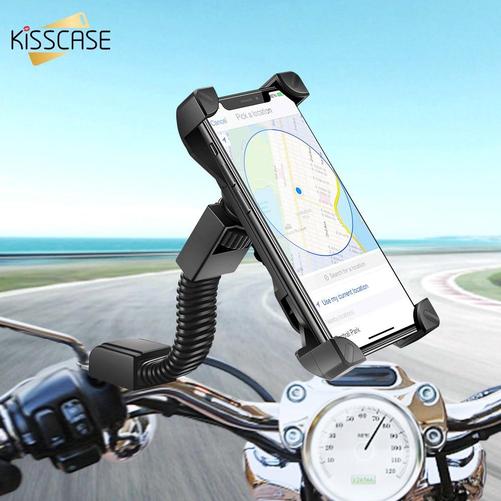 KISSCASE Universal Motorcycle Phone Holder Bike Holder GPS Adjustable Motor Phone Stand Mount Bracket Bicycle Holder For iPhone