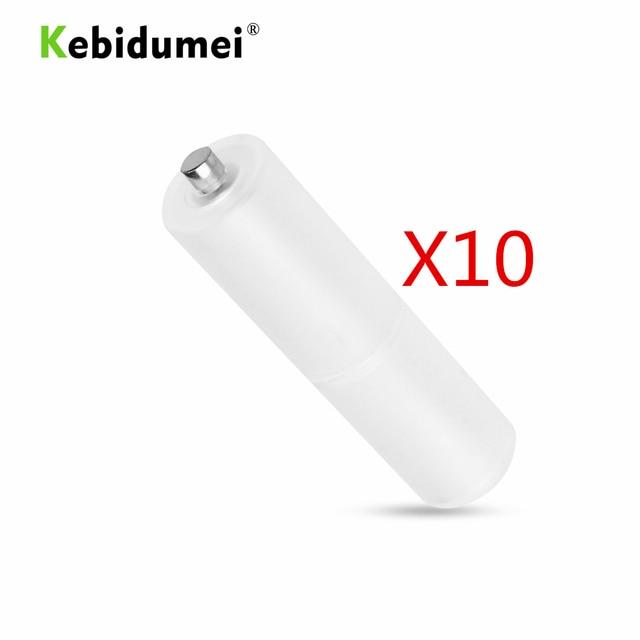 Kebidumei 10 sztuk AAA to rozmiar AA komórka przetwornica do baterii Adapter uchwyt baterii schowek obudowa z tworzywa sztucznego przełącznik dla AAA do AA