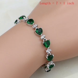 Image 2 - 925 Silver Bridal Jewelry Sets Green Cubic zirconia White CZ For Women Weeding Earrings Pendant Rings Bracelet Necklace Set