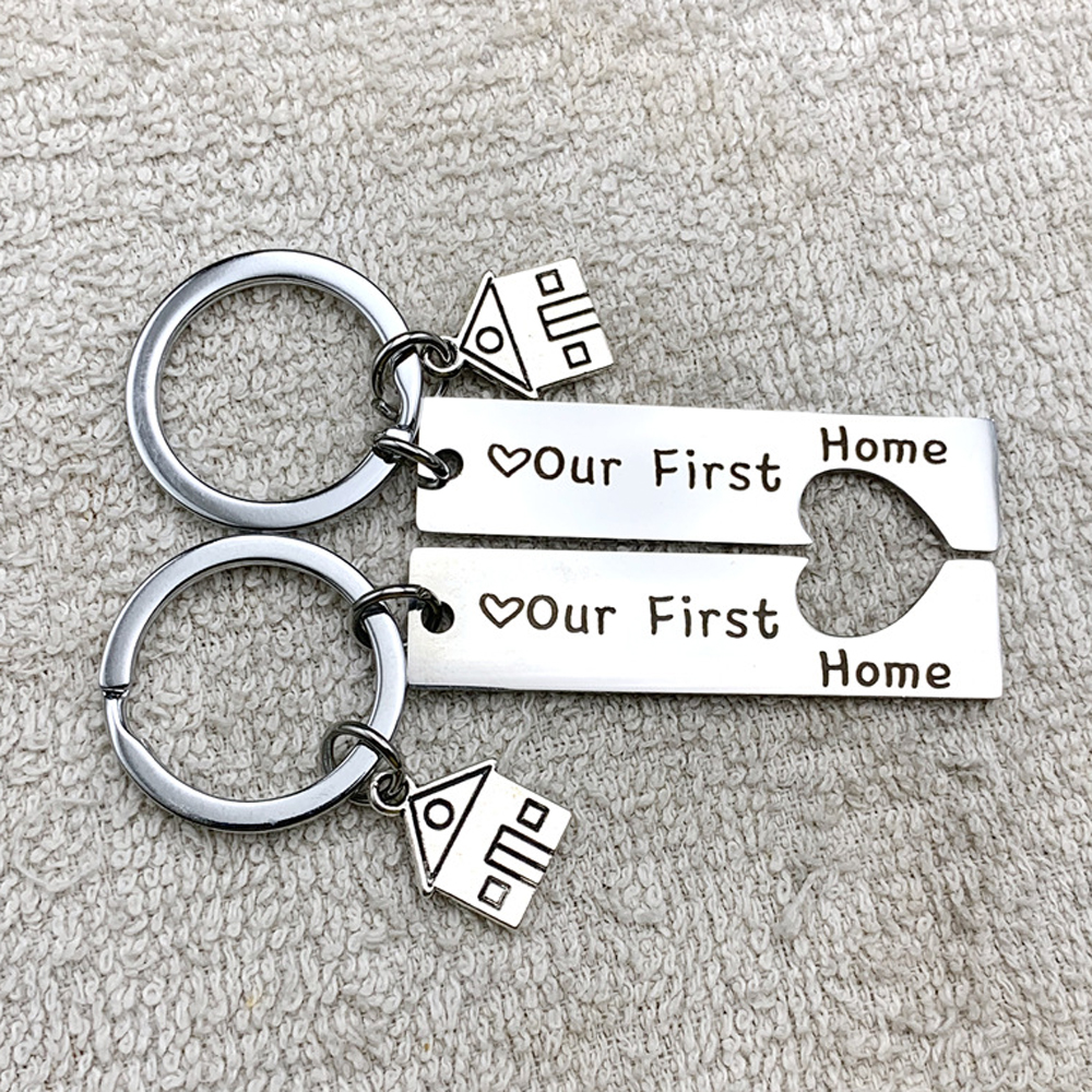2PC Customized Keychain Engraved Our First Home House Keyring Couples Housewarming Gifts Lovely Gift For New Home Owners