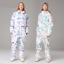 Зимний лыжный костюм с капюшоном женские комбинезоны цельный лыжный комбинезон Открытый Теплый Сноуборд спортивный водонепроницаемый комбинезон