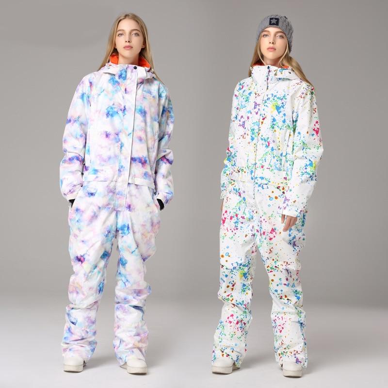 2019 Winter Ski Suit Hooded Women Overalls One-Piece Skiing Jumpsuit Outdoor Warm Snowboard Jumpsuit Sports Waterproof
