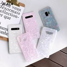 Glossy Marble Case For Samsung Galaxy S10 Plus S9 S8 Fashion Conch Shell Epoxy Silicone Glitter Soft TPU Cover
