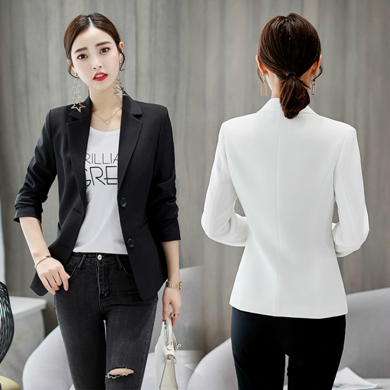 Women's professional jackets feminine small suits 2020 Spring and autumn slim long-sleeved ladies blazer Office white suit coat