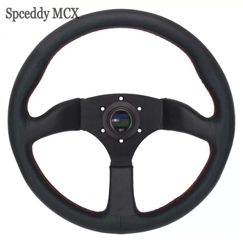 Universal 14 Inch 350MM Steering Wheel With Horn Button Leather Classic Steering Wheel For Racing Sports NOB-SW20S0216