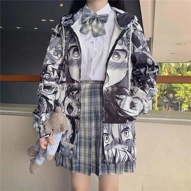 QWEEK Japanese Harajuku Anime Hoodie Hentai Zip Up 2021 Fashion Streetwear Women Kawaii Sweatshirts Korean Long sleeve Tops 4