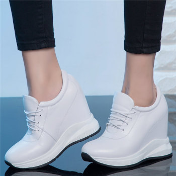 Lace Up Trainers Women Genuine Leather Wedges High Heel Platform Pumps Shoes Female Round Toe Fashion Sneakers 2020 Casual Shoes