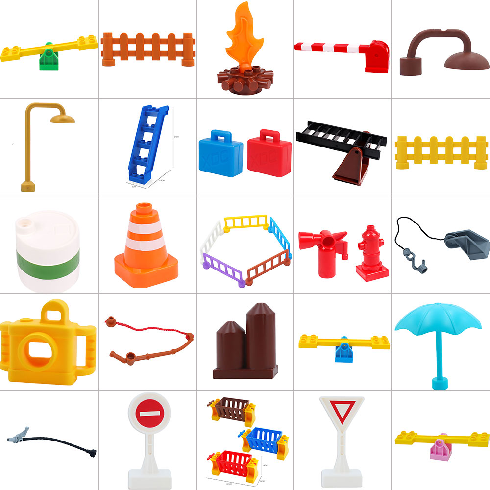 Hot Legoingly Duplo Stair Slide And Street Light Bricks Big Particles Building Blocks Compatible Accessory Playmobil Kids Toys