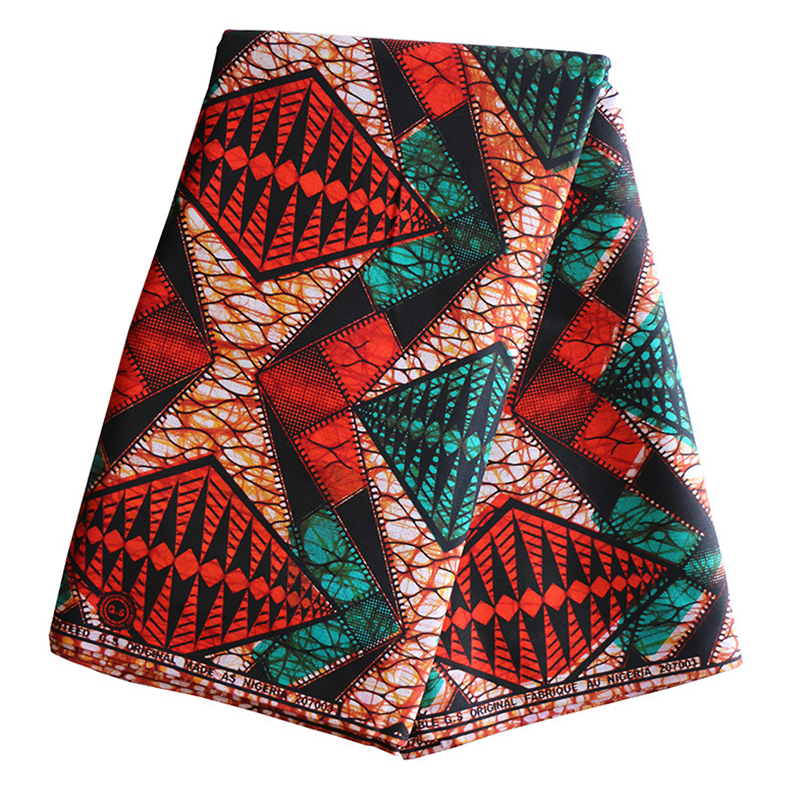 African Fabric  100% Cotton Red And Green Print Fabric High Quality Wax 6Yards