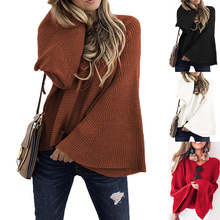 Large size womens sweater 2019 autumn and winter new trumpet loose hooded bat shirt